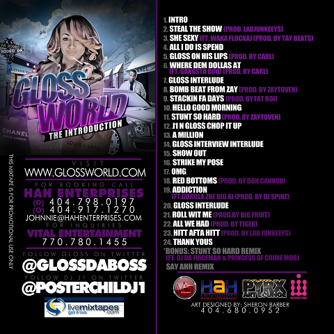 Gloss Da Boss Gloss World Mixtape Back Cover
