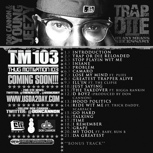 Don Cannon Young Jeezy Trap Or Die 2 Back Cover