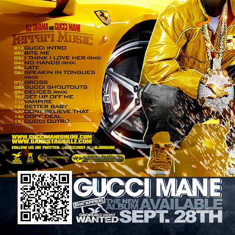 DJ Drama Gucci Mane Ferrari Music Mixtape Back Cover