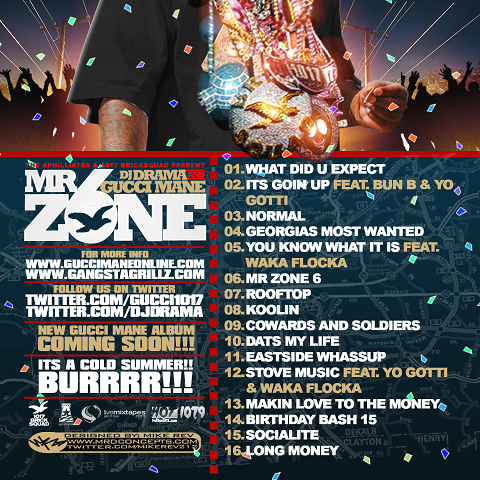 DJ Drama Gucci Mane Mr Zone 6 Back Cover