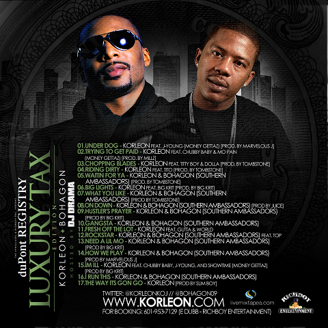 Korleon & Bohagon - Luxury Tax DJ Drama Mixtape Back Cover