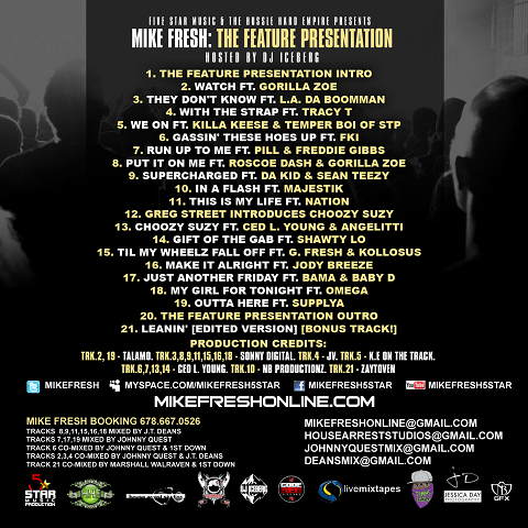 Mike Fresh - Feature Presentation Mixtape Back Cover
