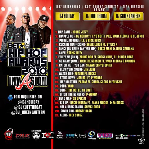 BET Hip Hop Awards 2010 Invasion Mixtape Back Cover