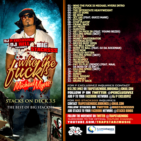Big Stacksss Who The Fck Is Michael Myers Mixtape Back Cover