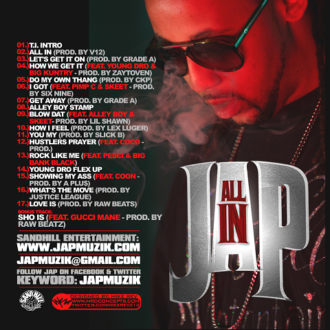 JAP All In Mixtape Back Cover