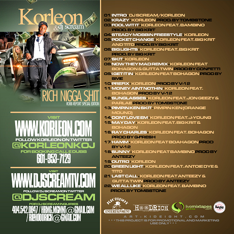 DJ Scream Korleon Rich Nigga Shit Back Cover