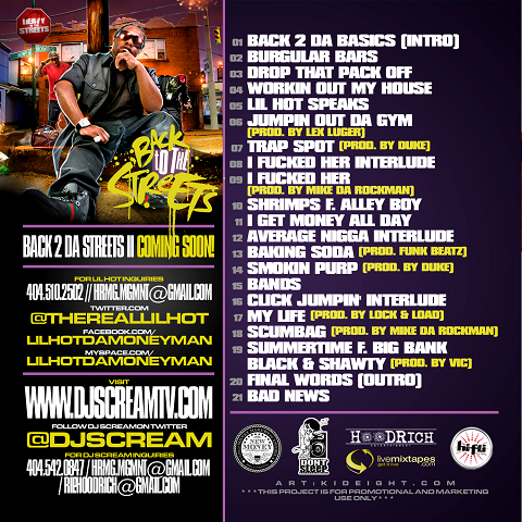 DJ Scream Lil Hot Back To The Streets Back Cover