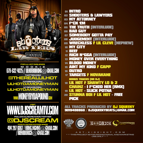 DJ Scream & Lil Hot - Shooters & Lawyers Mixtape Back Cover