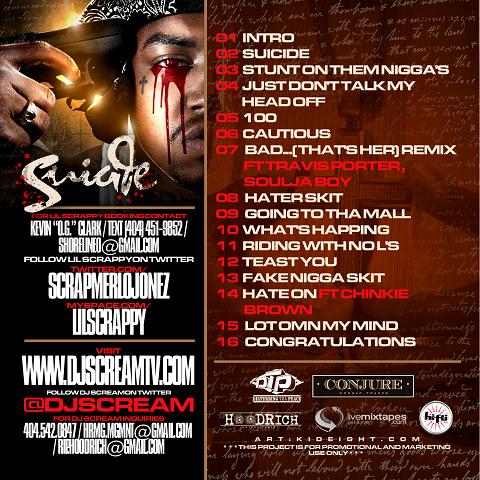 DJ Scream & Lil Scrappy - Suicide Mixtape Back Cover