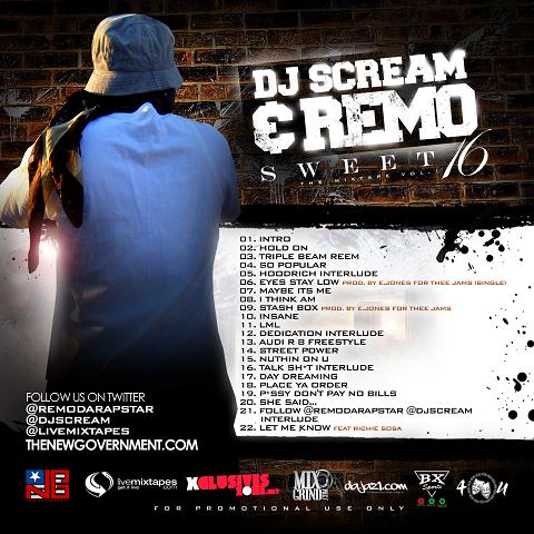 DJ Scream & Remo Da Rapstar - Sweet 16 Mixtape Back Cover