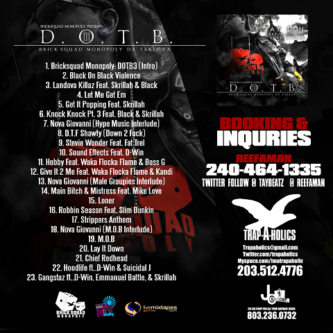 Death Of Tay Beatz 3 Mixtape Back Cover