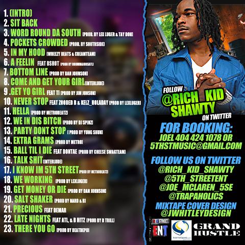 Trap-A-Holics & Rich Kid Shawty - Word In Da South Mixtape Back Cover